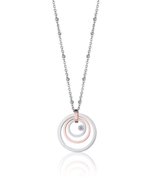 Collana Donna Luca Barra CK1428. Collana in acciaio con ciondoli a forma di cerchi concentrici, di cui uno placcato oro rosa, e zircone. Lunghezza: 40 cm + 5 cm.