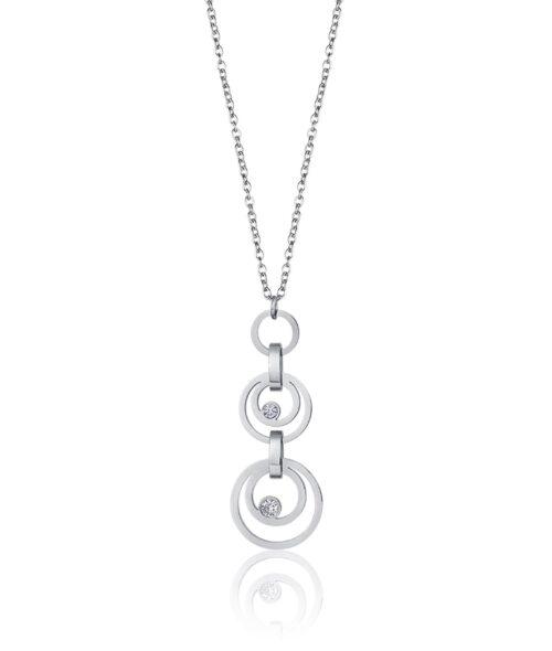 Collana Donna Luca Barra CK1430. Collana in acciaio con ciondoli a forma di cerchi concentrici e zirconi. Lunghezza: 40 cm + 5 cm.