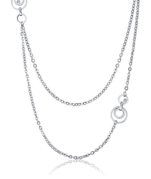 Collana Donna Luca Barra CK1431. Collana in acciaio a doppio filo con ciondoli a forma di cerchi concentrici e zirconi. Lunghezza: 90 cm + 5 cm.