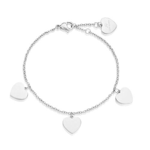 Bracciale Donna Luca Barra BK1660. Bracciale in acciaio con ciondoli a forma di cuore. Lunghezza: 18,5 cm.