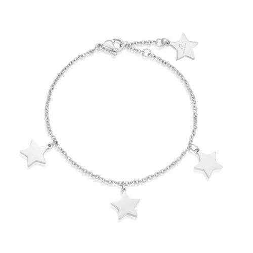 Bracciale Donna Luca Barra BK1662. Bracciale in acciaio con ciondoli a forma di stella. Lunghezza: 18,5 cm.