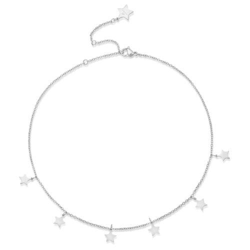 Collana Donna Luca Barra CK1296. Collana in acciaio con piccoli ciondoli a forma di stella. Lunghezza: 35 cm + 7,5 cm.
