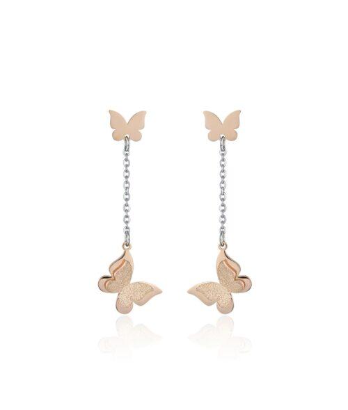 Orecchini Donna Luca Barra OK1026. Orecchini pendenti in acciaio anallergico con farfalle placcate oro rosa e glitter. Lunghezza: 4,5 cm.