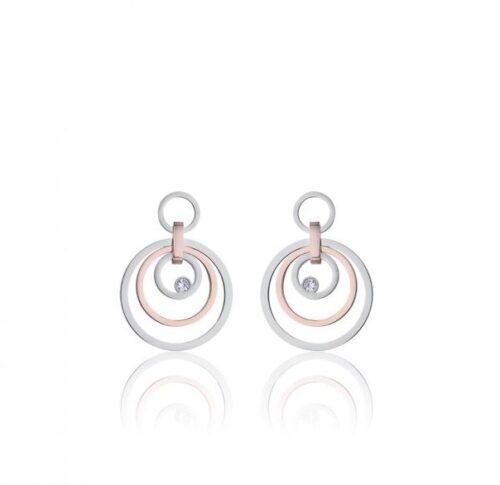 Orecchini Donna Luca Barra OK1050. Orecchini pendenti in acciaio anallergico con cerchi, di cui uno placcato oro rosa, e zirconi.