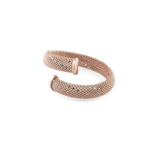 Bracciale Donna Unoaerre 000EXB4370000R della collezione Bronze. Bracciale rigido contrariè realizzato in bronzo rosato con tessuto a palline. Lunghezza: 18 cm.