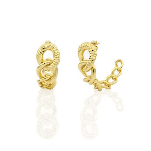 Orecchini Donna Unoaerre 000EXO4198000Gdella collezione Bronze. Orecchini rigidi realizzati in bronzo gold con catena grumetta a scalare.