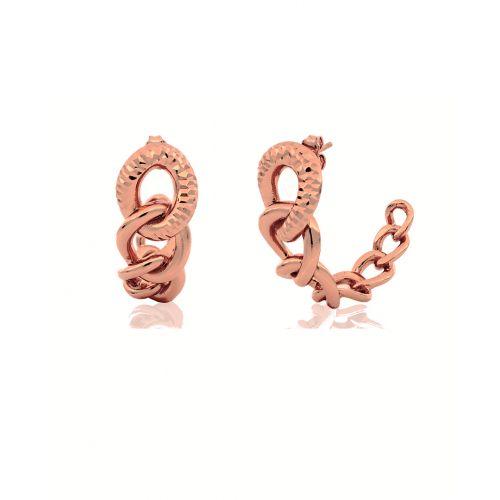 Orecchini Donna Unoaerre 000EXO4198000R della collezione Bronze. Orecchini rigidi realizzati in bronzo rosato con catena grumetta a scalare.