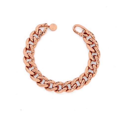 Bracciale Donna Unoaerre 000EXB4584000R della collezione Bronze. Bracciale realizzato in bronzo rosato con catena grumetta diamantata. Chiusura a moschettone.