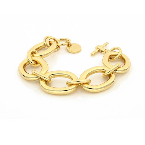 Bracciale Donna Unoaerre 000EXB4595000G della collezione Bronze. Bracciale realizzato in bronzo gold con catena forzatina larga. Chiusura a T-bar. Lunghezza 22 cm.