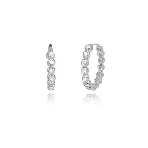 Orecchini donna Mabina 563353. Orecchini a cerchio in argento con zirconi.