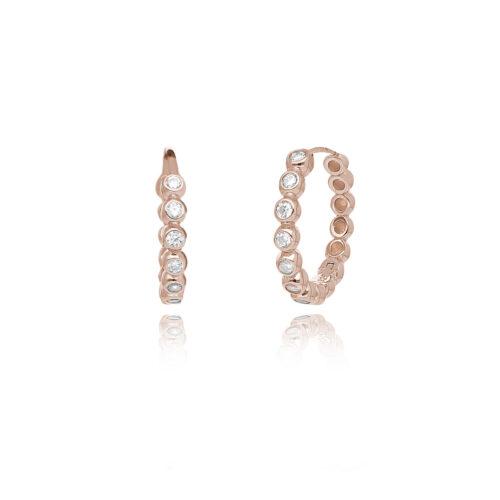 Orecchini donna Mabina 563354. Orecchini a cerchio in argento rosato con zirconi.