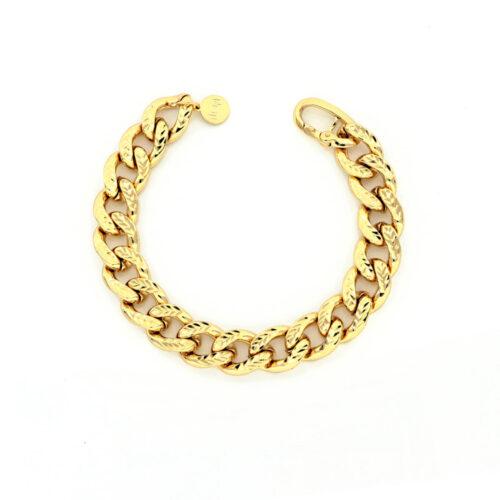 Bracciale Donna Unoaerre 000EXB4584000G della collezione Bronze. Bracciale realizzato in bronzo gold con catena grumetta diamantata. Chiusura a moschettone.