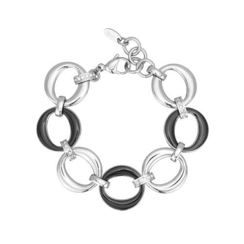 Bracciale Donna 2Jewels 232179. Bracciale realizzato in acciaio 316L con maglie di forma ovale, smalto nero e cristalli bianchi. Lunghezza: 20 cm.