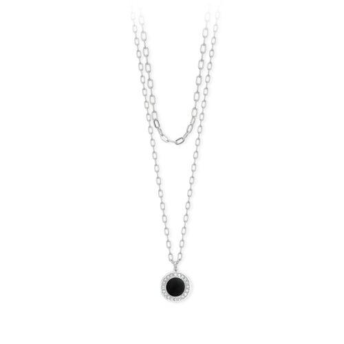 Collana Donna 2Jewels 251719. Collana a doppio filo realizzata in acciaio 316L con ciondolo rotondo, smaltato nero, incorniciato da cristalli bianchi. Lunghezza 50 cm.