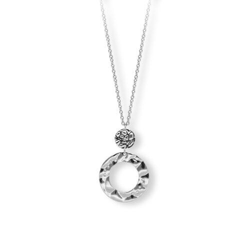 Collana Donna 2Jewels 251740. Collana realizzata in acciaio 316L con ciondoli rotondi in metallo battuto e cristalli bianchi. Lunghezza 45 cm.