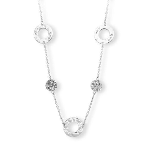 Collana Donna 2Jewels 251742. Collana realizzata in acciaio 316L con ciondoli rotondi in metallo battuto e cristalli bianchi. Lunghezza 90 cm.