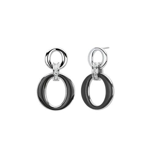 Orecchini Donna 2Jewels 261320. Orecchini pendenti realizzati in acciaio 316L, con ovale smaltato nero e zirconi bianchi.