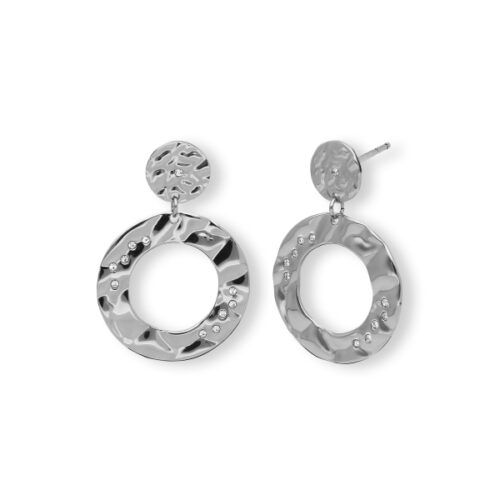 Orecchini Donna 2Jewels 261329. Orecchini pendenti realizzati in acciaio 316L, con cerchi in metallo battuto e zirconi bianchi.