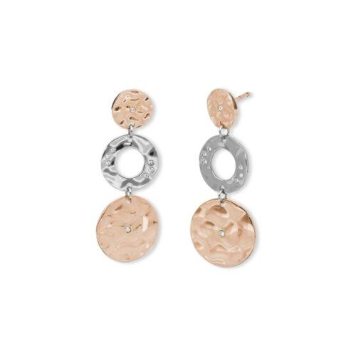 Orecchini Donna 2Jewels 261330. Orecchini pendenti realizzati in acciaio 316L, con cerchi in metallo battuto, pvd rosè e zirconi bianchi.