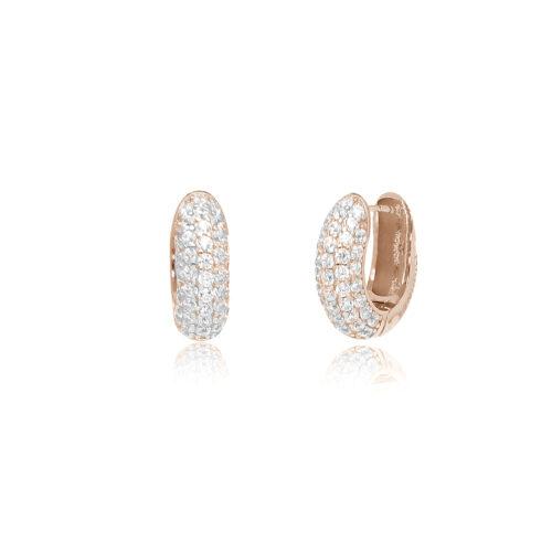 Orecchini donna Mabina 563318. Orecchini a cerchio in argento con pvd oro rosa e pavè di zirconi.