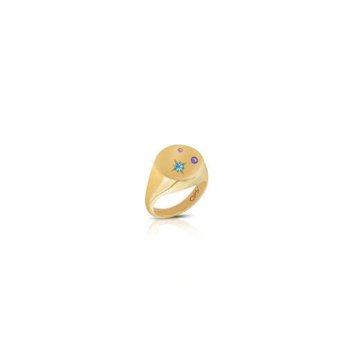 Anello Donna Opsobjects OPS-ICG05-08 della collezione Icon Vega. Anello in argento 925 placcato oro giallo con zirconi multicolore. Disponibile in diverse misure.