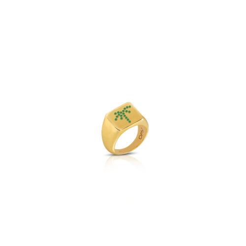 Anello Donna Opsobjects OPS-ICG11-08 della collezione Icon Beverly. Anello in argento 925 placcato oro giallo con zirconi verdi disposti a forma di palma. Disponibile in diverse misure.