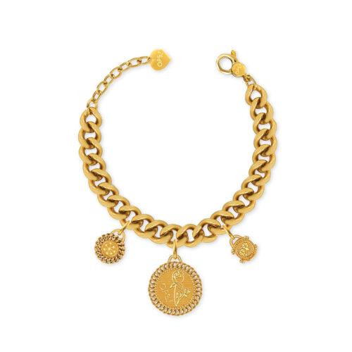 Bracciale Donna Opsobjects OPS-LUX01 della collezione Natural Love. Bracciale in ottone placcato oro 24k, con catena groumette e pendenti a forma di monete.