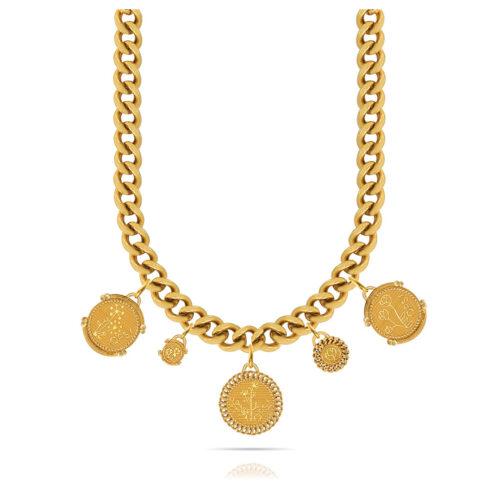 Collana Donna Opsobjects OPS-LUX02 della collezione Natural Love. Collana in ottone placcato oro 24k, con catena groumette e pendenti a forma di monete.