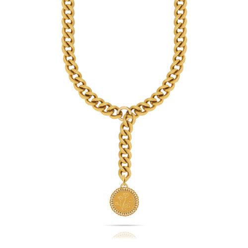 Collana Donna Opsobjects OPS-LUX03 della collezione Natural Love. Collana in ottone placcato oro 24k, con catena groumette e pendente a forma di moneta.