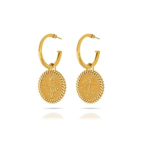 OrecchiniDonna Opsobjects OPS-LUX04 della collezione Natural Love. Orecchini a cerchio in ottone placcato oro 24k, con pendenti a forma di monete.