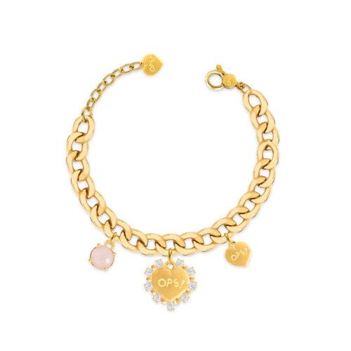 Bracciale Donna Opsobjects OPS-LUX11 della collezione Fashion Love. Bracciale in ottone placcato oro 24k, con catena groumette, pendenti a forma di cuore e pietra colorata rosa.
