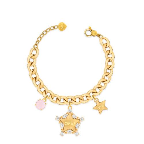 Bracciale Donna Opsobjects OPS-LUX13 della collezione Fashion Love. Bracciale in ottone placcato oro 24k, con catena groumette, pendenti a forma di stella e pietra colorata rosa.