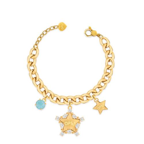 Bracciale Donna Opsobjects OPS-LUX14 della collezione Fashion Love. Bracciale in ottone placcato oro 24k, con catena groumette, pendenti a forma di stella e pietra colorata azzurra.