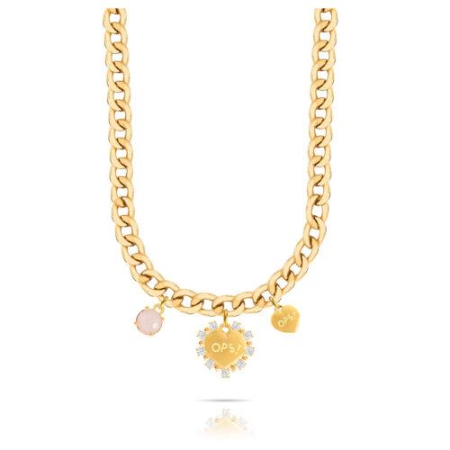 Collana Donna Opsobjects OPS-LUX15 della collezione Fashion Love. Collana in ottone placcato oro 24k, con catena groumette, pendenti a forma di cuore e pietra colorata rosa.