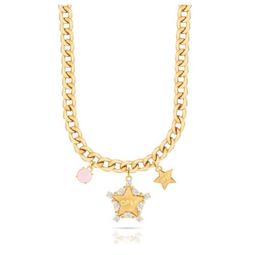 Collana Donna Opsobjects OPS-LUX16 della collezione Fashion Love. Collana in ottone placcato oro 24k, con catena groumette, pendenti a forma di stella e pietra colorata rosa.