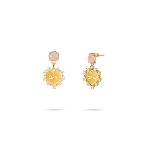 Orecchini Donna Opsobjects OPS-LUX17 della collezione Fashion Love. Orecchini in ottone placcato oro 24k, con pendenti a forma di cuore e pietra colorata rosa.