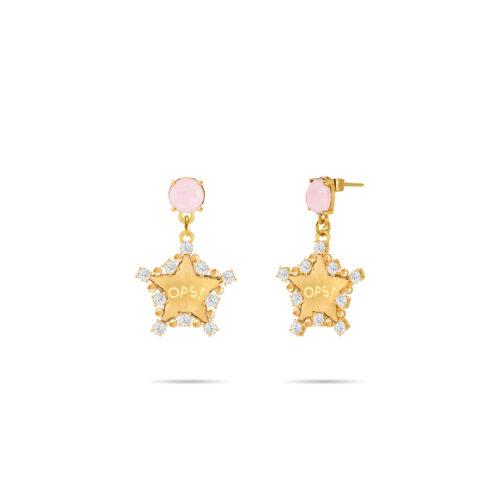 Orecchini Donna Opsobjects OPS-LUX18 della collezione Fashion Love. Orecchini in ottone placcato oro 24k, con pendenti a forma di stella e pietra colorata rosa.