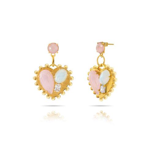 Orecchini Donna Opsobjects OPS-LUX23 della collezione Precious Love. Orecchini in ottone placcato oro 24k, con pendenti a forma di cuore impreziosito da pietre colorate.