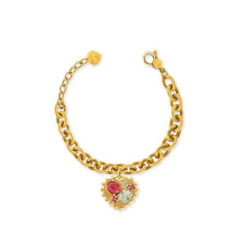 Bracciale Donna Opsobjects OPS-LUX30 della collezione Precious Love. Bracciale in ottone placcato oro 24k, con catena rolò e pendente a forma di cuore con pietre colorate.