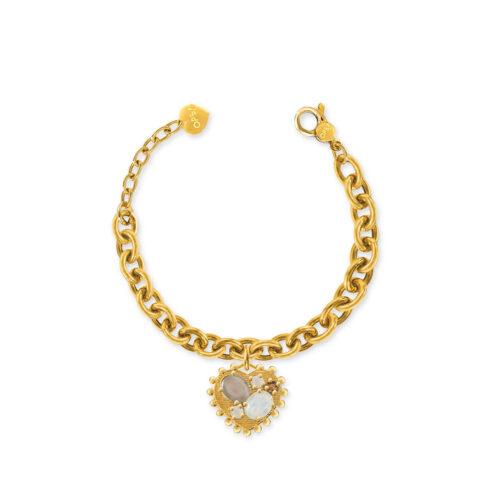 Bracciale Donna Opsobjects OPS-LUX31 della collezione Precious Love. Bracciale in ottone placcato oro 24k, con catena rolò e pendente a forma di cuore con pietre colorate.