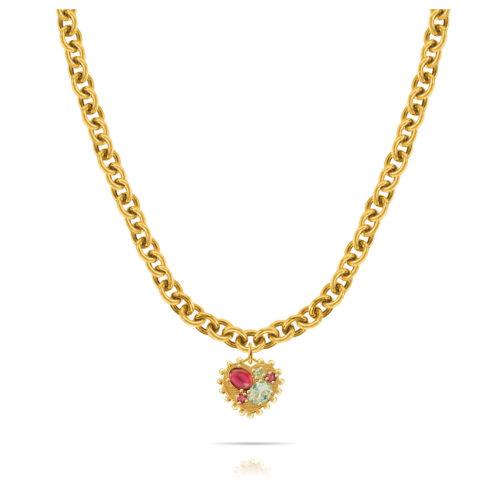 Collana Donna Opsobjects OPS-LUX33 della collezione Precious Love. Collana in ottone placcato oro 24k, con catena rolò e pendente a forma di cuore con pietre colorate.