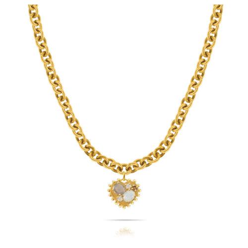 Collana Donna Opsobjects OPS-LUX34 della collezione Precious Love. Collana in ottone placcato oro 24k, con catena rolò e pendente a forma di cuore con pietre colorate.