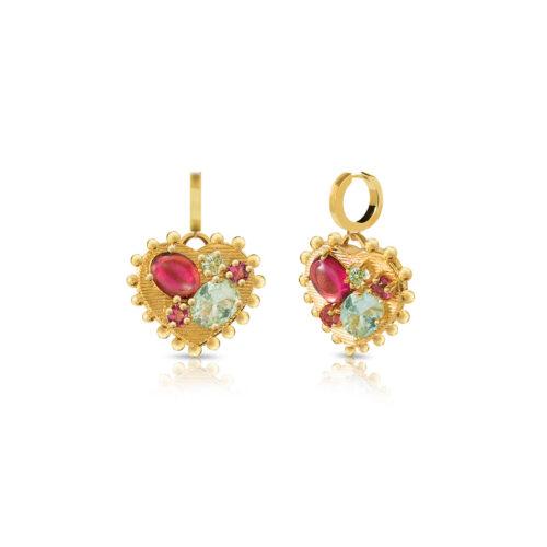 Orecchini Donna Opsobjects OPS-LUX36 della collezione Precious Love. Orecchini in ottone placcato oro 24k, con pendente a forma di cuore impreziosito da pietre colorate.