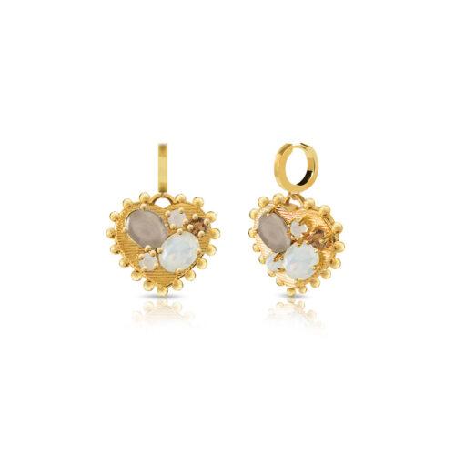 Orecchini Donna Opsobjects OPS-LUX37 della collezione Precious Love. Orecchini in ottone placcato oro 24k, con pendenti a forma di cuore impreziosito da pietre colorate.