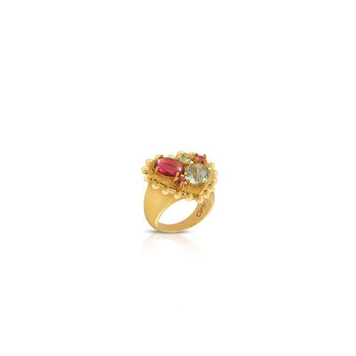 Anello Donna Opsobjects OPS-LUX38-14 della collezione Precious Love. Anello a forma di cuore in ottone con placcatura oro giallo e pietre rosse e verdi. Disponibile in diverse misure.