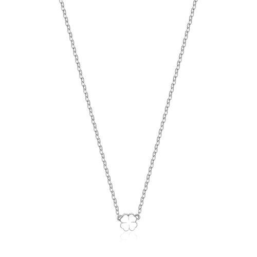 Collana S'agapò SCK01 della collezione Happy. Collana in acciaio 316L con pendente a forma di quadrifoglio. Misura collana: 43 cm.