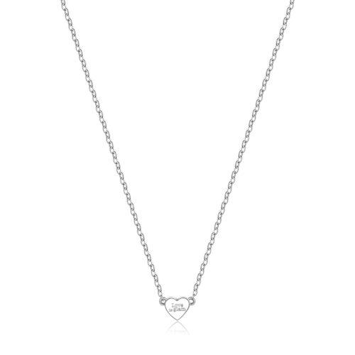 """Collana S'agapò SCK02 della collezione Happy. Collana in acciaio 316L con pendente a forma di cuore con incisione """"Love is glam"""". Misura collana: 43 cm."""