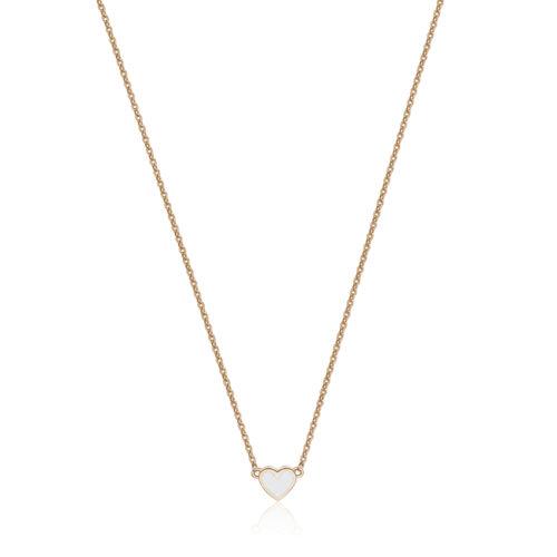 Collana S'agapò SCK04 della collezione Happy. Collana in acciaio 316L con finitura oro rosa e pendente a forma di cuore smaltato bianco. Misura collana: 43 cm.