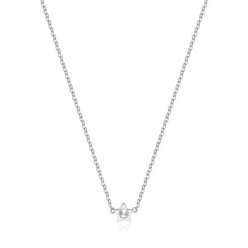 Collana S'agapò SCK05 della collezione Happy. Collana in acciaio 316L con pendente a forma di stella e zircone. Misura collana: 43 cm.