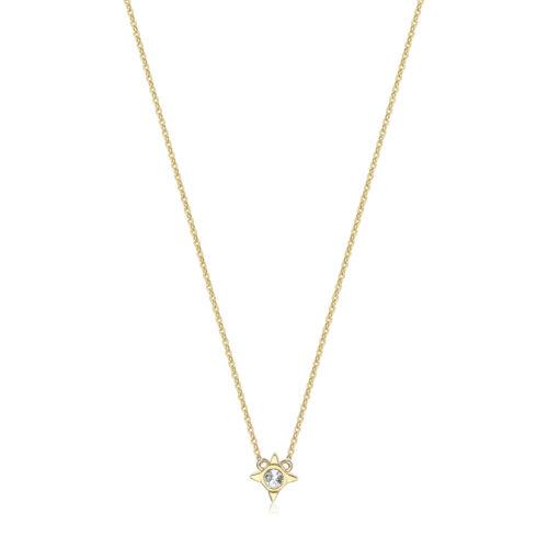 Collana S'agapò SCK06 della collezione Happy. Collana in acciaio 316L con finitura gold e pendente a forma di scintilla con zircone. Misura collana: 43 cm.